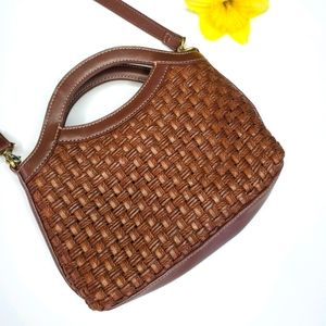 FOSSIL woven straw purse small brown crossbody bag